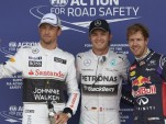 Jenson Button, Nico Rosberg and Sebastian Vettel