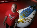 Jesse James with hydrogen land-speed record contender, by Spencer Weiner - Los Angeles Times