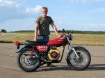 John Petsche with his record-setting homebrew 350cc diesel motorcycle running on vegetable oil