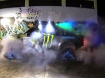 Ken Block does an AWD burnout with the Hoonigan RaptorTRAX