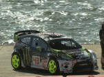 Ken Block, on a barge in San Francisco Bay