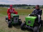 Kimi Raikkonen goes lawnmower racing