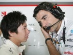 Kobayashi with engineer Francesco Nenci - Sauber F1 Team photo