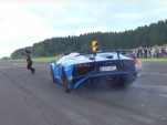 Lamborghini Aventador LP750-4 SV almost runs over camera man