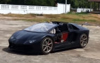 This Aventador replica has a retractable hardtop and motorcycle power