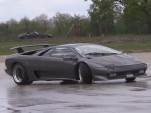 Lamborghini Diablo owner learning how to drift his car
