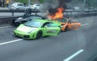 Three Lamborghinis Burn To The Ground After Crashing Into Each Other