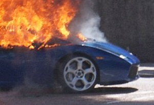 Lamborghini Gallardo on fire in Scottish Highlands