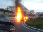 Lamborghini Gallardo up in flames in Prague