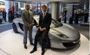Lewis Hamilton and Jenson Button at the McLaren dealership in London