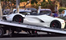 Lewis Hamilton's Ferrari LaFerrari Aperta on the back of a tow truck in Los Angles, California