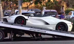 Lewis Hamilton's Ferrari LaFerrari Aperta on the back of a tow truck in Los Angles, California