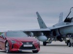 Lexus LC 500 races a fighter jet