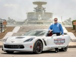 Mark Reuss and the Chevrolet Corvette Z06 pace car for the 2015 IndyCar Detroit Grand Prix