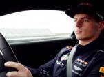 Max Verstappen in the 2019 Aston Martin Vantage