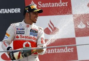 McLaren's Lewis Hamilton on the podium at the 2012 Formula 1 Italian Grand Prix