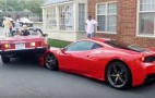 Woman backs car onto hood of Ferrari 458 Speciale while parking