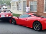 Mercedes-Benz 380SL backed up onto hood of Ferrari 458 Speciale in Great Falls, Virginia