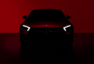 Teaser for 2019 Mercedes-Benz CLS debuting at 2017 Los Angeles Auto Show
