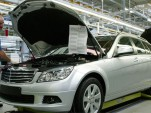 Mercedes' C-Class wagon production line in Bremen, Germany