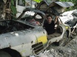 Miguel Llorente in the abandoned Mercedes 300SL Gullwing in Cuba