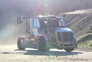 Mike Ryan drives the Banks Super Turbo race truck up Pikes Peak