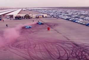 New Guinness World Record for largest tire-mark image is set by a pair of Ford Mustangs