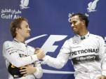 Nico Rosberg and Lewis Hamilton at the 2014 Formula One Bahrain Grand Prix