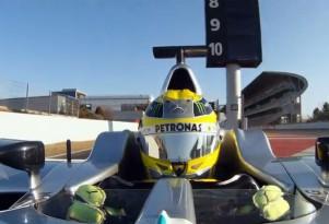Nico Rosberg, showing off a modern F1 helmet
