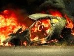 Nissan GT-R englufed by flames after crash