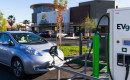 Nissan Leaf electric car at EVgo DC fast-charging station