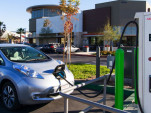 Nissan Leaf electric car at EVgo DC fast-charging station