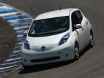 Nissan Leaf on track at Laguna Seca. Photo via MyNissanLeaf forum member nader.