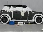 """One of the MINI """"Wash Me"""" art cars"""