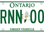 Ontario green license plate for hybrids and EVs
