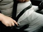 Overweight driver buckling seatbelt