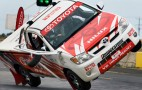 Timo Glock goes up on 2 wheels in a Toyota Hilux