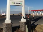 Electric-Car Charging Station At Gas Station In Tar-Sands Land