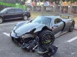 Porsche 918 Spyder that crashed in Shanghai, China - Image via CarNewsChina