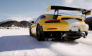 Porsche GT2 RS performs an ice ballet on the snow at St. Moritz