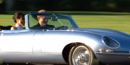 Prince Harry and new wife Meghan Markle in the Jaguar E-Type Zero concept