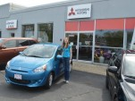 Priscilla Briggs with her new 2014 Mitsubishi Mirage, Boston, May 2014