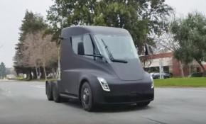 Prototype for Tesla Semi electric semi-trailer truck