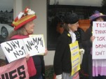 Raging Grannies Protest Tesla