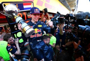 Red Bull Racing's Max Verstappen after winning the 2016 Formula One Spanish Grand Prix