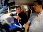 Renault Nissan CEO Carlos Ghosn in a Nissan Leaf autonomous car prototype