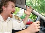 Road rage driver expresses his displeasure