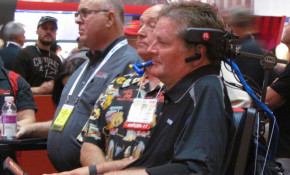 Sam Schmidt listens during SEMA presentation on Advanced Driver Assistance Systems