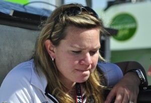 Sarah Fisher on the pit stand at Las Vegas - Anne Proffit photo