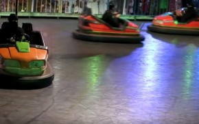 Saudi Arabian women driving bumper cars in Arwa Al Neami's documentary Never Never Land